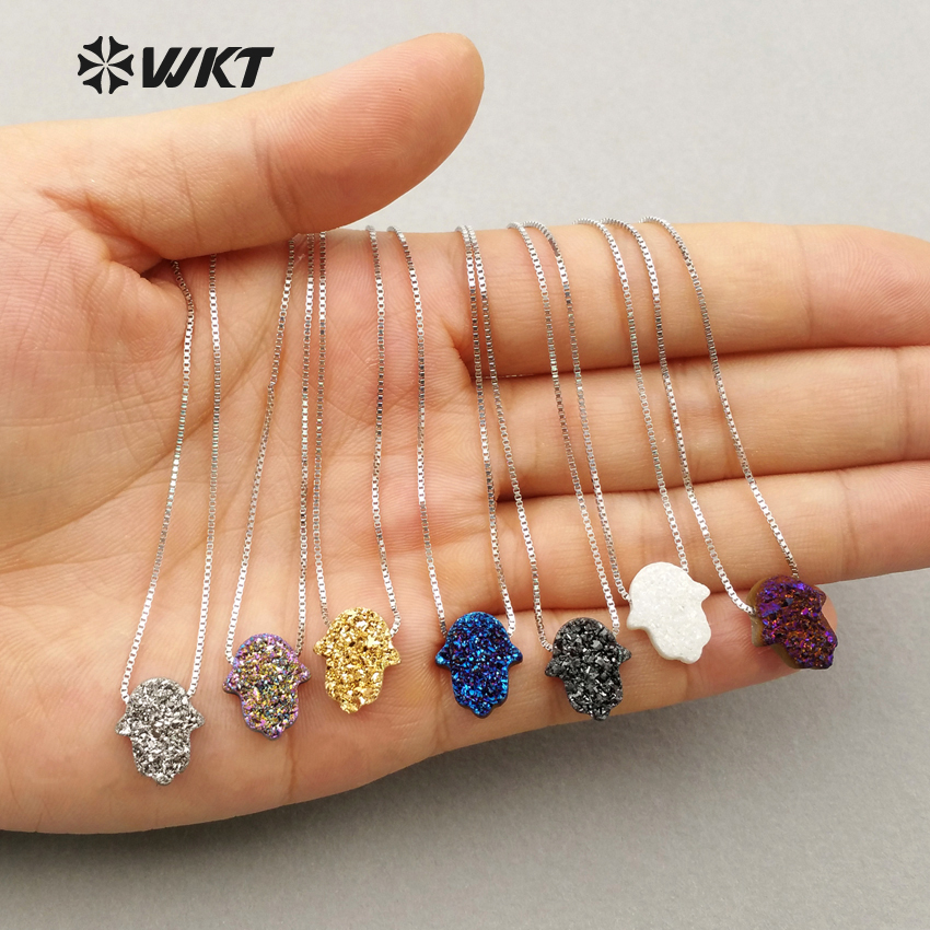 WT N1057 WKT New Arrival 925 Sterling Silver Chain Necklace Loverly Hamsa Pendant Necklace For Women