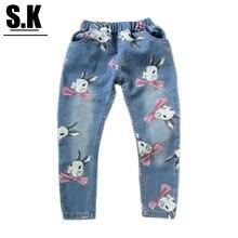 Sk кролик прямые джинсы печати девочек повседневная марка детская осень мода