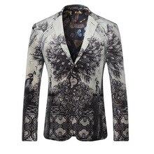 Neue Design 2016 Herbst Luxus Stil Männer Anzug Jacke Druck Blazer Männer Casual Marke Blazer Euro Größe Z6828