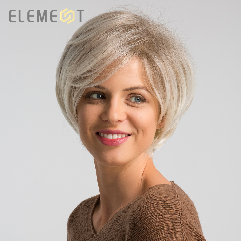 ELEMENT 6 Inch Short Synthetic Wig For Women Left Side Parting Ombre Gray To White High Temperature Replacement Hair Wigs