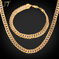 U7 Brand Two Tone Gold Plated Necklace Set Party Jewelry Wholesale Hip Hop Cuban Chain Necklace Bracelet Men Jewelry Set S566