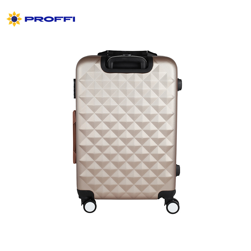 Stylish beige suitcase PROFFI TRAVEL PH8645 beige, M plastic with built-in weights medium on wheels on wheels
