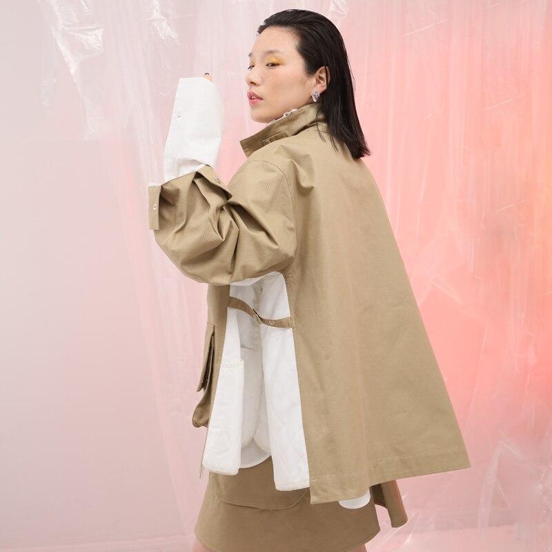 Jakcet Lâche Uniforme Surdimensionné Patchwork Khaki Poches Personnalité Automne Style Veste Femmes Kaki Printemps UxS0ztqw