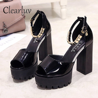2019 new dress with women's shoes waterproof platform word buckle with fish mouth high heels thick with 11.5cm sandals C1012