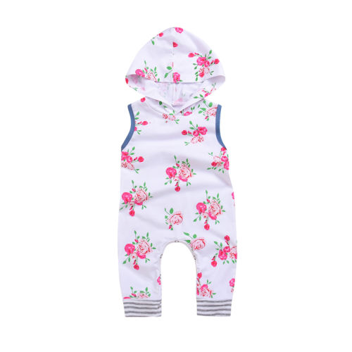 Causal Newborn Infant Kids Baby Girl Floral Hooded Sleeveless Romper Jumpsuit Playsuit Outfits Summer Clothes Set