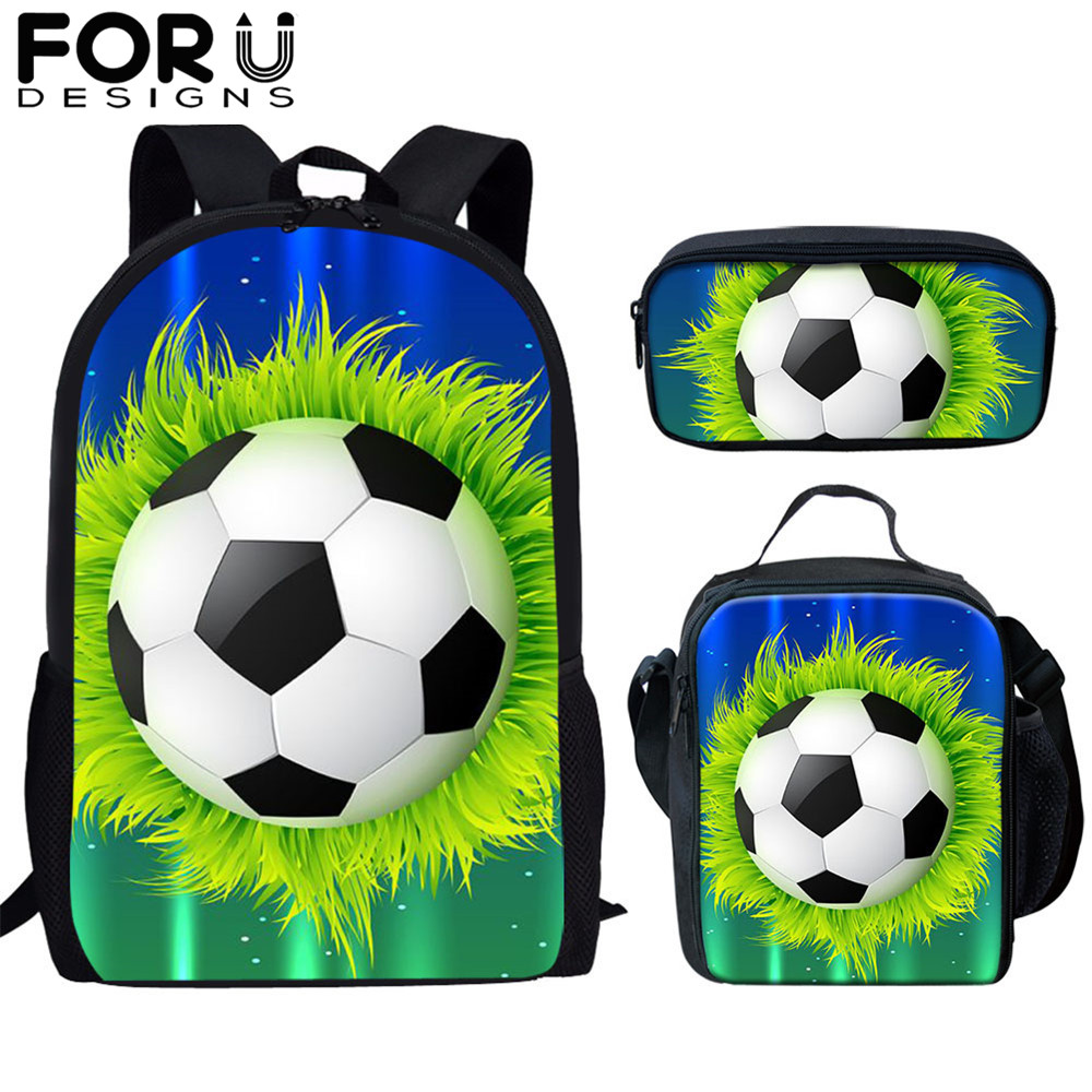 FORUDESIGNS Football/Soccer Ball Print Set School Bags For Teen Boys Primary 16 Inch Children Large Men Backpack School Kids Bag