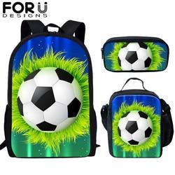 FORUDESIGNS piłka nożna/piłka do piłki nożnej zestaw do druku torby szkolne dla nastoletnich chłopców podstawowa torba 16 Cal dla dzieci duża torba dla uczniów