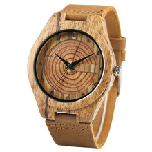 Hand Made Natural Zebra Wooden Watches Table Double Wood Grain Circle Literal Genuine Leather Fresh Quartz Watch for Men Women
