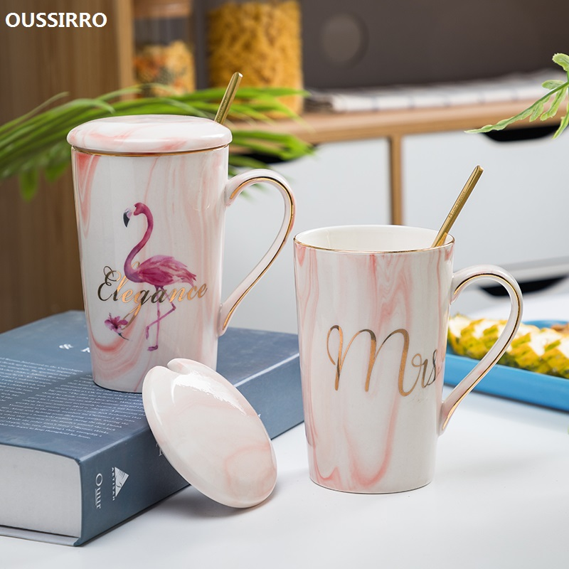 OUSSIRRO Flamingo Pattern Natural Marble Porcelain Coffee Mug Mr and Mrs Tea Milk Cup Creative Wedding Anniversary Gift gift for boyfriend on anniversary