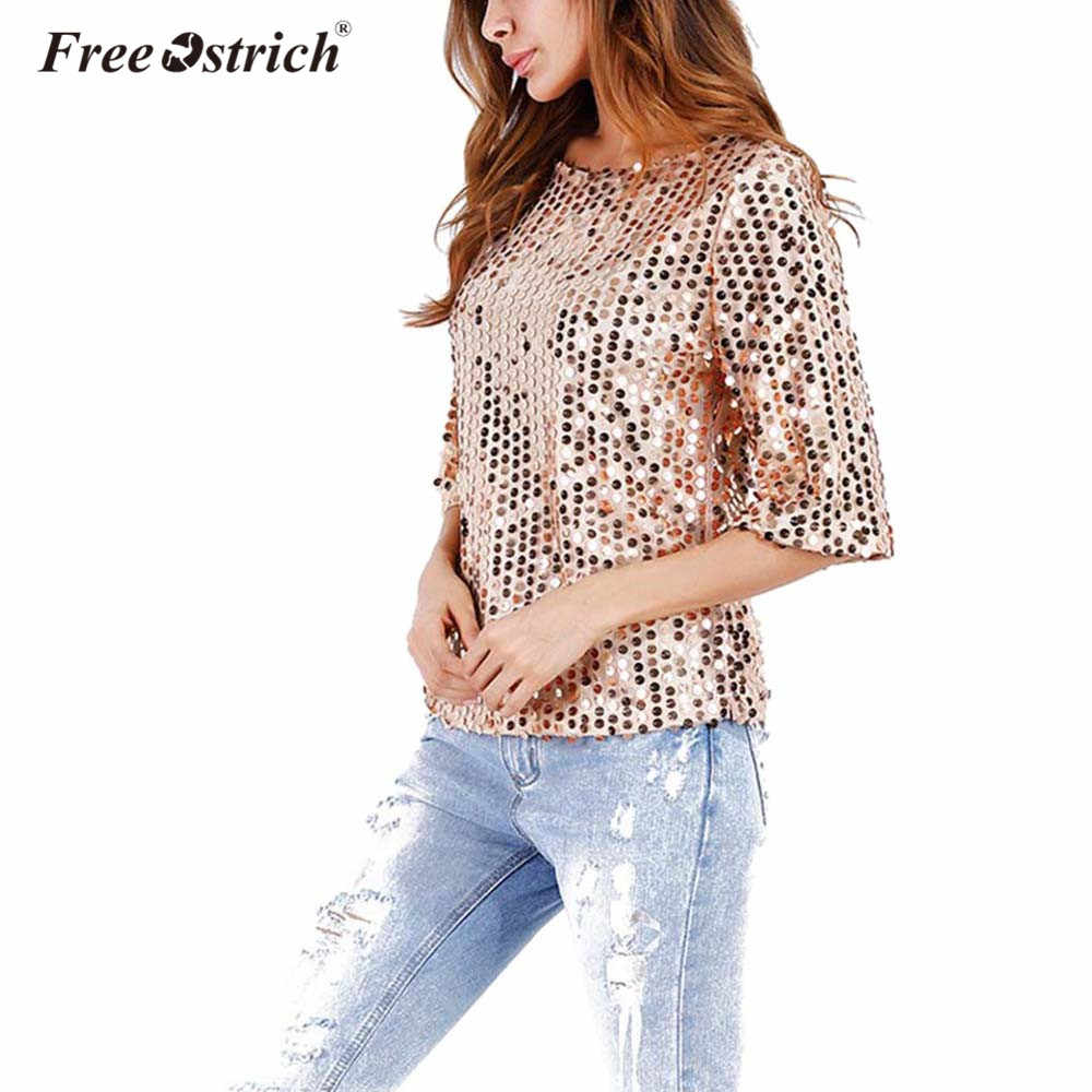 ... Free Ostrich 2019 Fashion Women Sexy Loose Sequined Glitter Summer  Casual Shirts Vintage Streetwear Party Tops ... 60137a1ac721