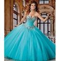 Vestidos De 15 Años 2017 Cristais de Luxo Vestidos de Baile Puffy Quinceanera Vestidos Princesa Azul Vestidos de Baile para 15 Anos HD-310