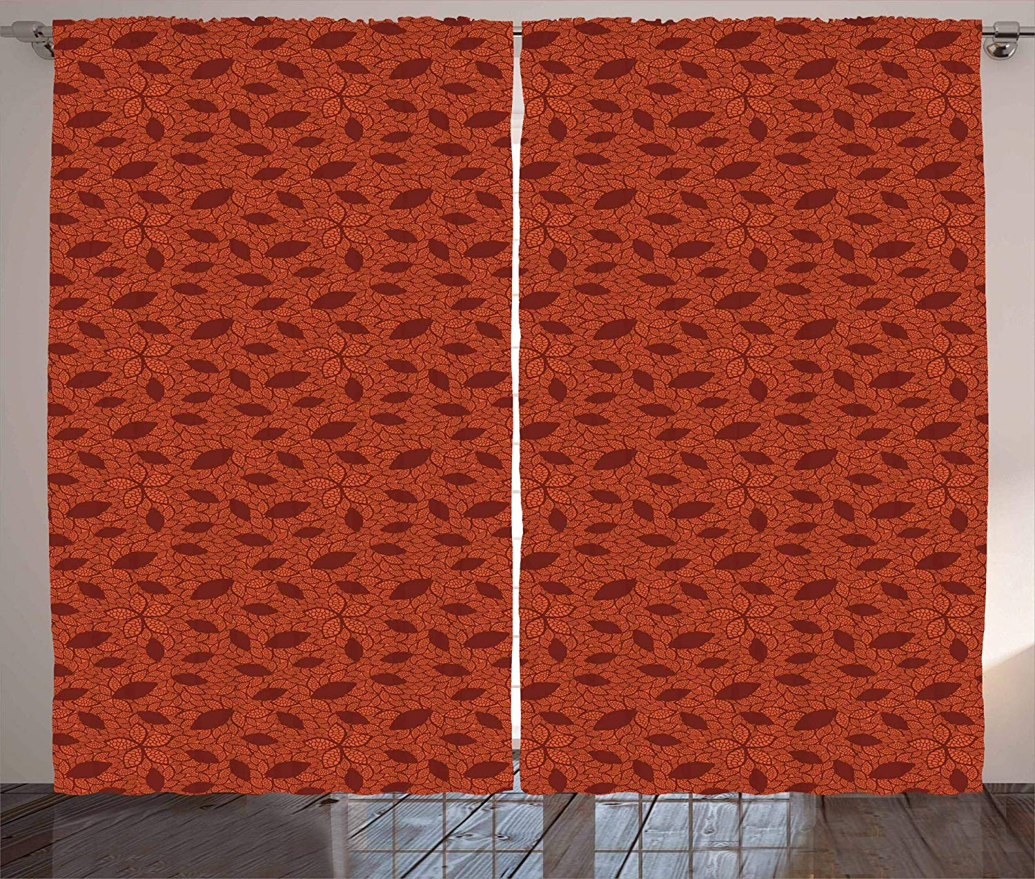 Burnt Orange Curtains Leafage Pattern With Victorian Lace Design Inspired Flower Petals Living Room Bedroom Window Decor Pane