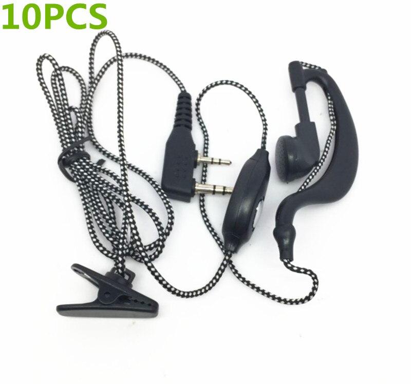 10PCS Woven Wire, Black Headphones For Kenwood TK2107 TK3107 TK278 BAOFENG UV-5R Wouxun KG-UVD1P TYT
