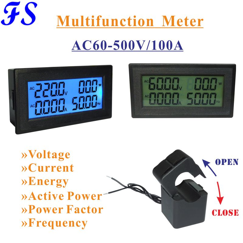 60 Hertz Frequency Meter : Lcd ac voltage current meter v a with ct