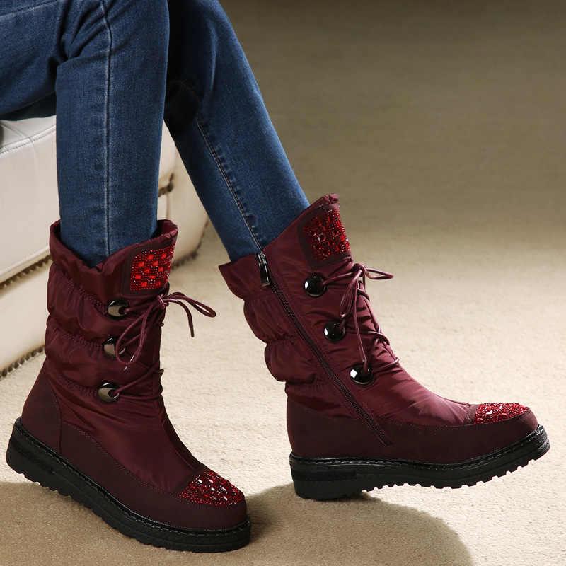 SWYIVY kar botları kadın kış ayakkabı 2019 kristal lüks kadın botları su geçirmez aşağı yün Snowboots siyah/kırmızı rahat ayakkabılar
