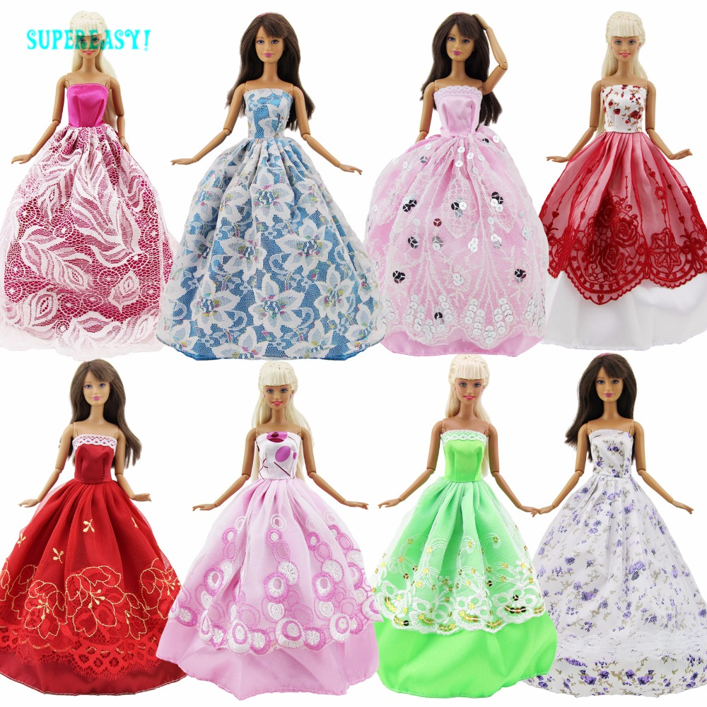 Random 5x Fashion Dresses Wedding Party Evening Gown Mixed Style Clothes For Barbie FR Kurhn Doll Pretend Play Accessories Gift new 20 pcs set handmade party 12 clothes fashion mixed style dress 8 pair accessories shoes for barbie doll best gift girl toy