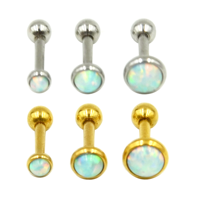 613ffe38f Pair of Silver/Gold Opal Stone Ear Tragus Cartilage Helix Piercing Body  Jewelry Retainers Earring
