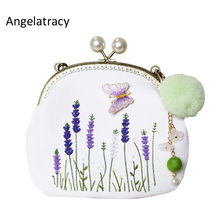 Angelatracy New Arrival Embroidery Lavender Flowers 3D Butterfly Pearls Frame PU Handmade Pompoms Women Messenger Crossbody Bag