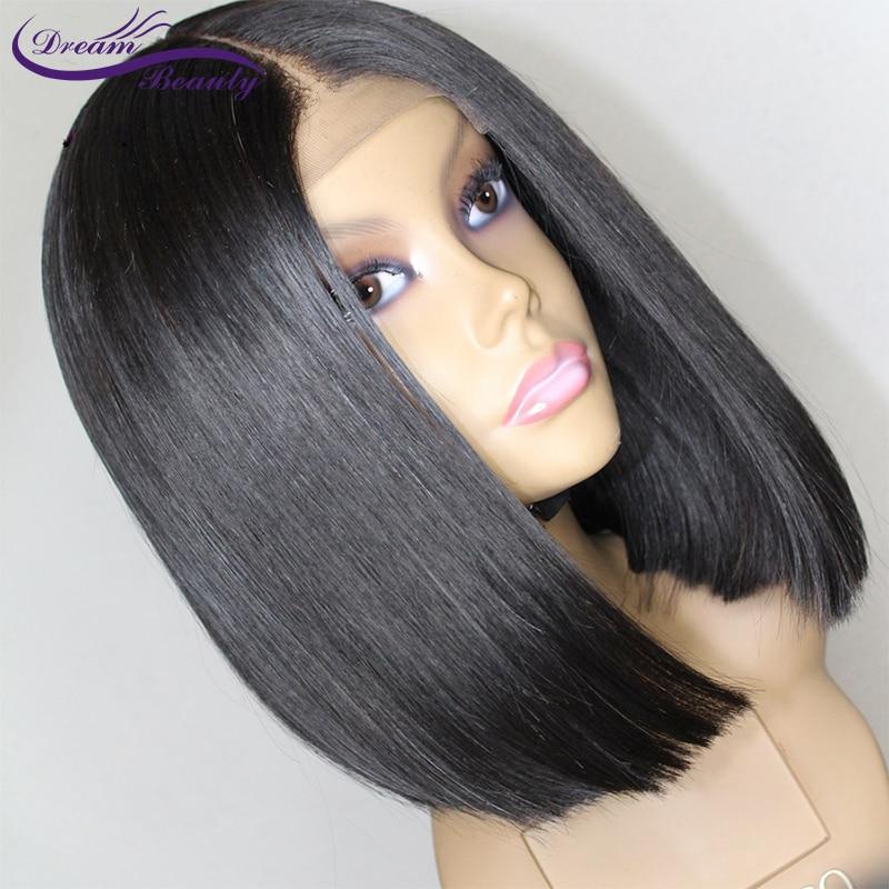 dream beauty Straight Short Bob Wigs Natural Color Brazilian Non Remy Human Hair Density 13x6 deep