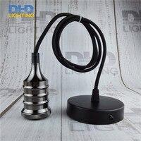 Glossy Black Industrial Retro Edison Bulb Lamp Pendant Vintage Loft Antique Fabric Wire DIY E27 Art