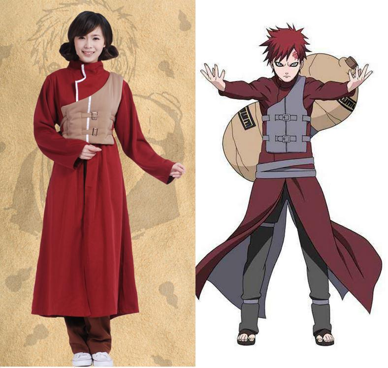 Sabaku no Gaara Cosplay Costumes Red Set Long Coat Vest Pant Headwear Shoe Set Anime Halloween Carnaval Disguisement Naruto Cos