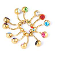 New 12 Pcs Lot Mix Colour Fashion Women S Belly Button Rings Gold Stainles Steel Crystal