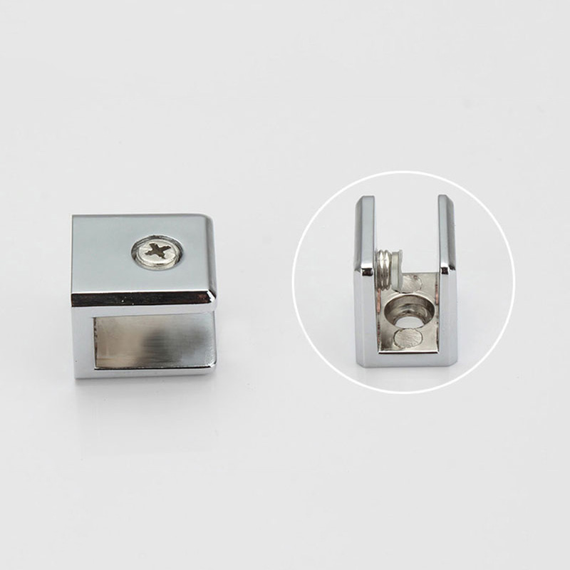 2pcs 2252218mm square shape zinc alloy glass clamp bracket glossy shiny shelf - Glass Shelf Brackets
