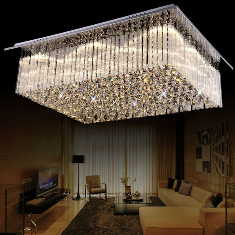 Modern 60 70 90cm Crystal Led Chandeliers Ceiling Lights: Simple And Modern LED Rectangular Warm Romantic Living