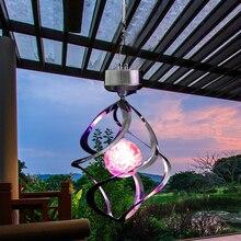 À prova dwaterproof água rgb led luzes de energia solar girador vento lâmpada led ao ar livre pendurado vento chime luz para casa jardim luz decoração