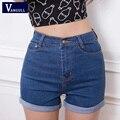 Nueva Llegada Pantalones Cortos de Mezclilla Alta Cintura de la Vendimia Cuff Jeans Shorts Girls'Street Desgaste Atractivo Más Tamaño Pone en Cortocircuito