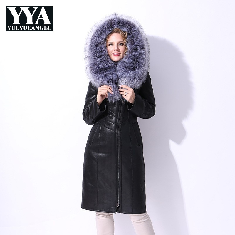 2019 New Womens Double faced Fur Overcoat High Street Brand Slim Fitness Long With Fur Collar Hoodie Coat Women Plus Size 6XL