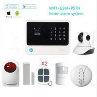 Новая версия GSM Wifi gprs sms домашняя охранная сигнализация работа с 2MP Wifi PTZ камеры беспроводной открытый сирена детектор газа