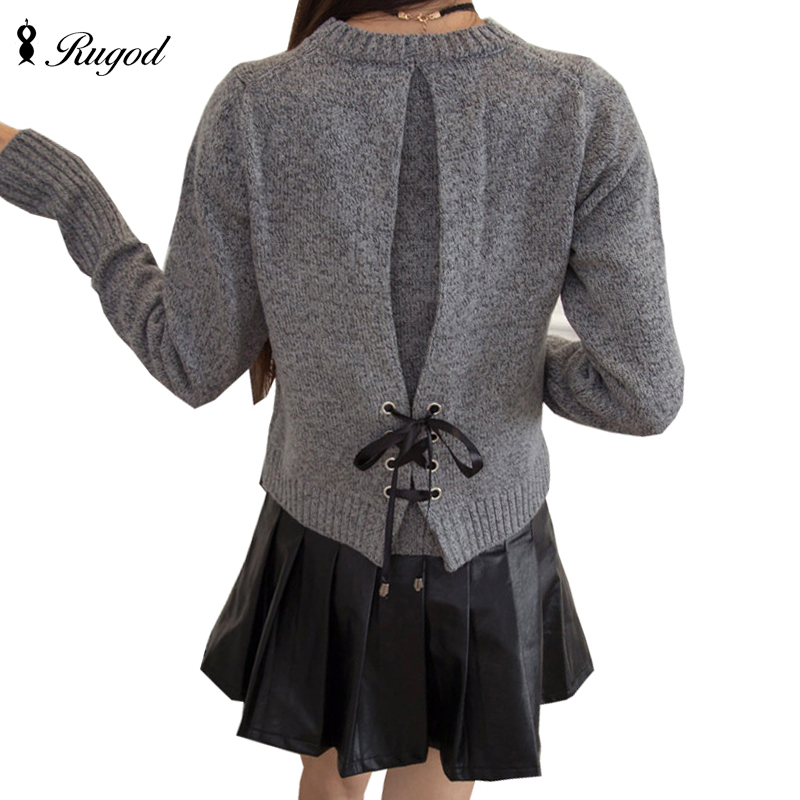 Rugod Women Sweaters And Pullovers Bow Tie Lace Up Sweater Women 2018 Spring Sweater Tops Solid O-neck Long Sleeve Pull Femme