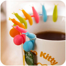 5Pcs/Set Creative Snail Shape Silicone Tea Bag Holder Cup Mug Hanging Tool Coffee and Tea Accessories