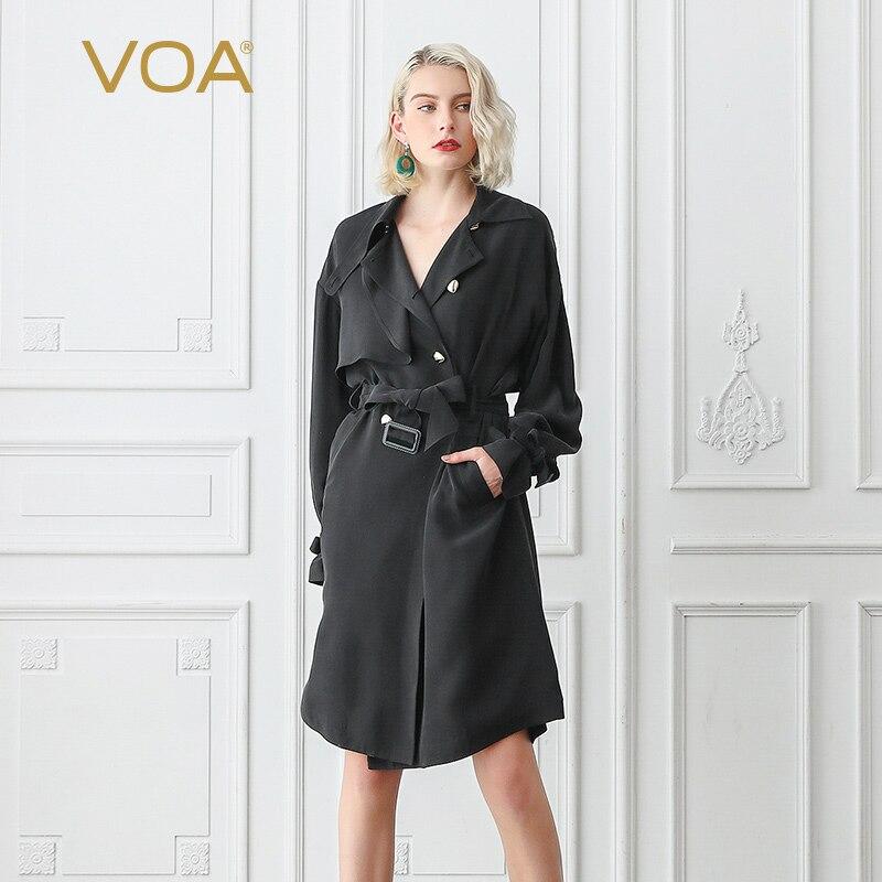 VOA Mat Noir Cool Soie Lourde Tranchée Manteau Femmes Automne Chauve-Souris Manches Longues Double Breasted Pardessus Vêtements Ceinture Automne De Base f367