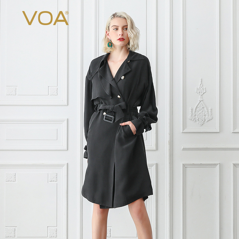 VOA Matte Black Cool Heavy Silk Trench Coat Women Fall Batwing Long Sleeve Double Breasted Overcoat Basic Clothes Belt F367