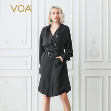 8ac942c0 VOA Matte Black Cool Heavy Silk Trench Coat Women Fall Batwing Long Sleeve  Double Breasted Overcoat