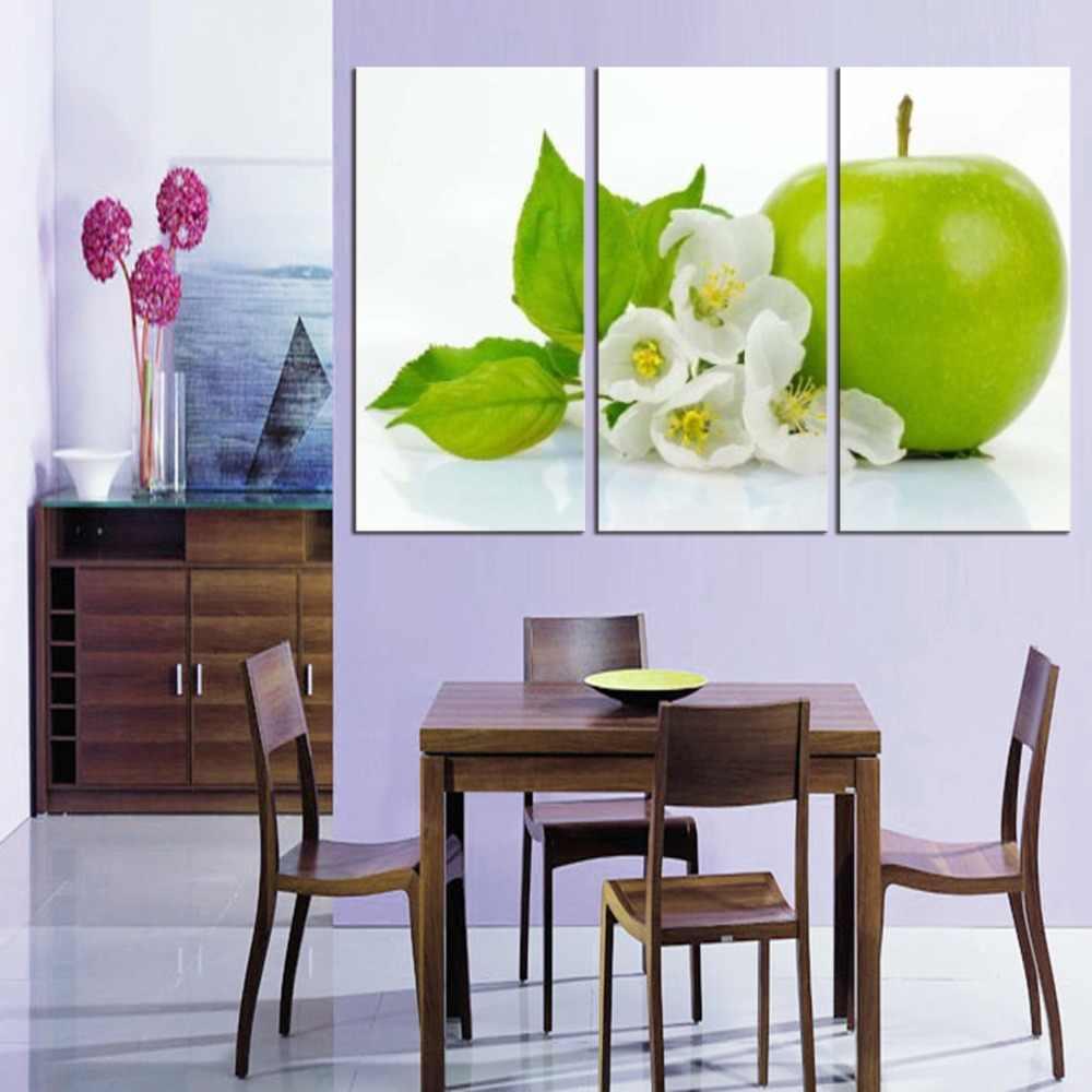 3 Pieces Dapur Dinding Gambar Buah Lukisan Di Atas Kanvas Cetak Hijau Apple Ruang Makan Modern Dekorasi Gambar
