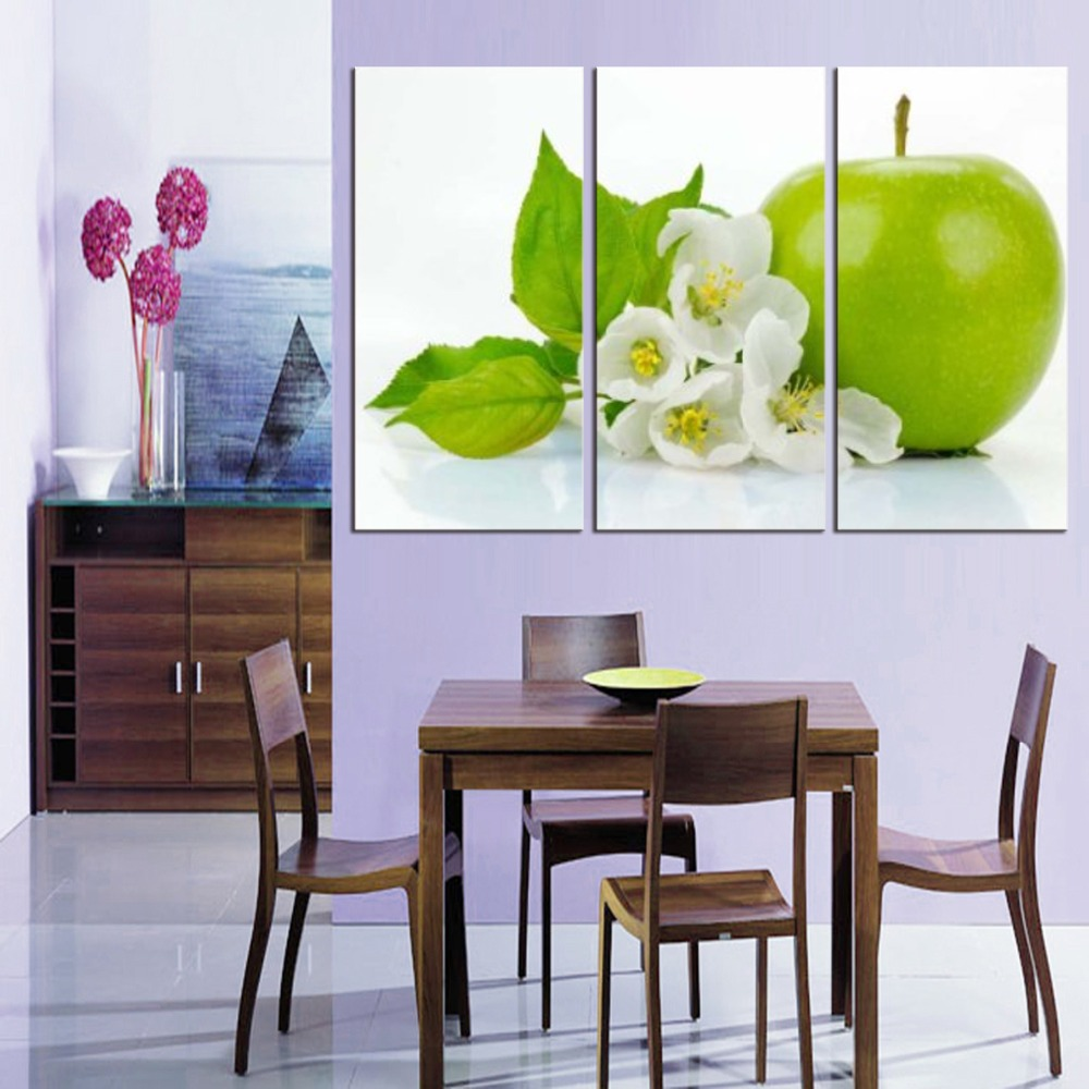 3 Pieces Kitchen Wall Pictures Fruit Painting Print On Canvas Green Apple Modern Dining Room Decoration Picture In Calligraphy From Home Garden
