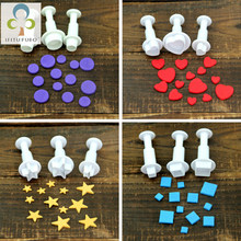 3Pcs Geometry Cookie Cutter Plastic Square Sugarcraft Decor Fondant Cutter Circle Star Cookie Mold Icing Sugar Baking Tools GYH