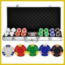 PK-5001 400 шт. чипы с чехлом, глина 14 г покерные фишки вставка металлическая, пять цветов