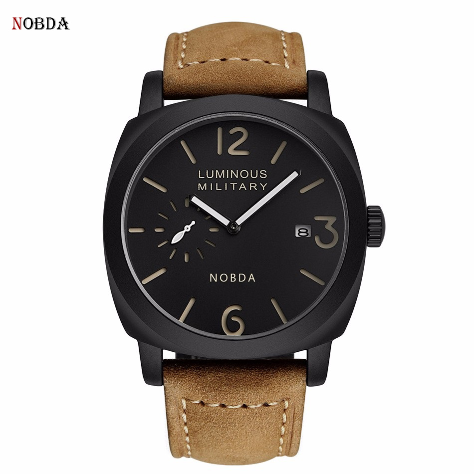 Mens Watches Top Brand Luxury Genuine Leather Quartz Sports Watch Men 2017 Army NOBDA 016B Military Male Clock Men Wrist Watch new world map mens genuine leather quartz watch wood bamboo male wrist watch luxury brand reloj de madera genuine with gift box