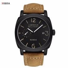 Mens Watches Top Brand Luxury Genuine Leather Quartz Sports Watch Men 2017 Army NOBDA 016B Military Male Clock Men Wrist Watch