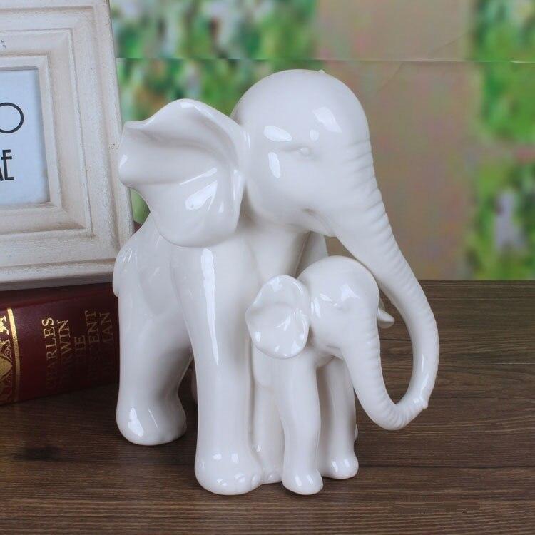 Berühren Weiße Jade Porzellan Elefanten Mutter und Sohn Skulptur ...