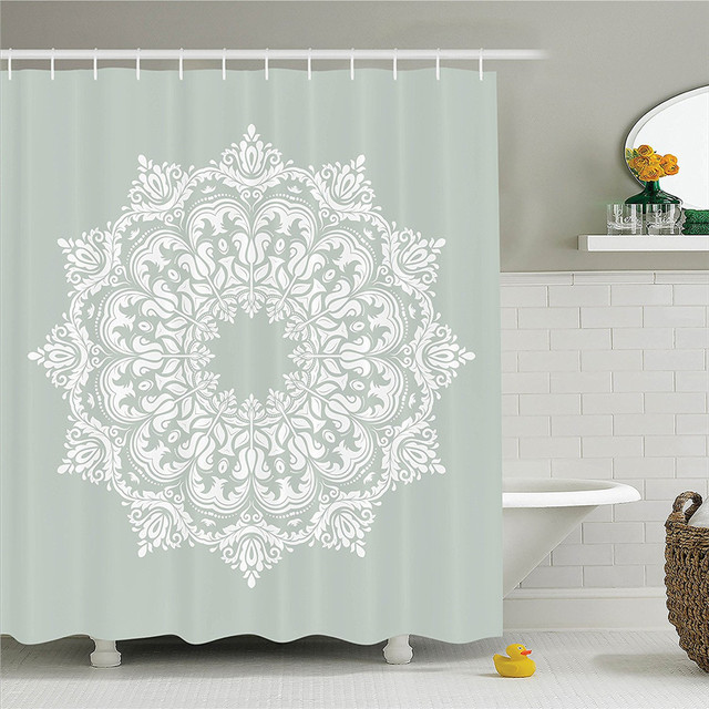 Arabian Decor Shower Curtain Set Oriental Pattern With Damask Arabesque And Floral Elements Classical Islamic Art