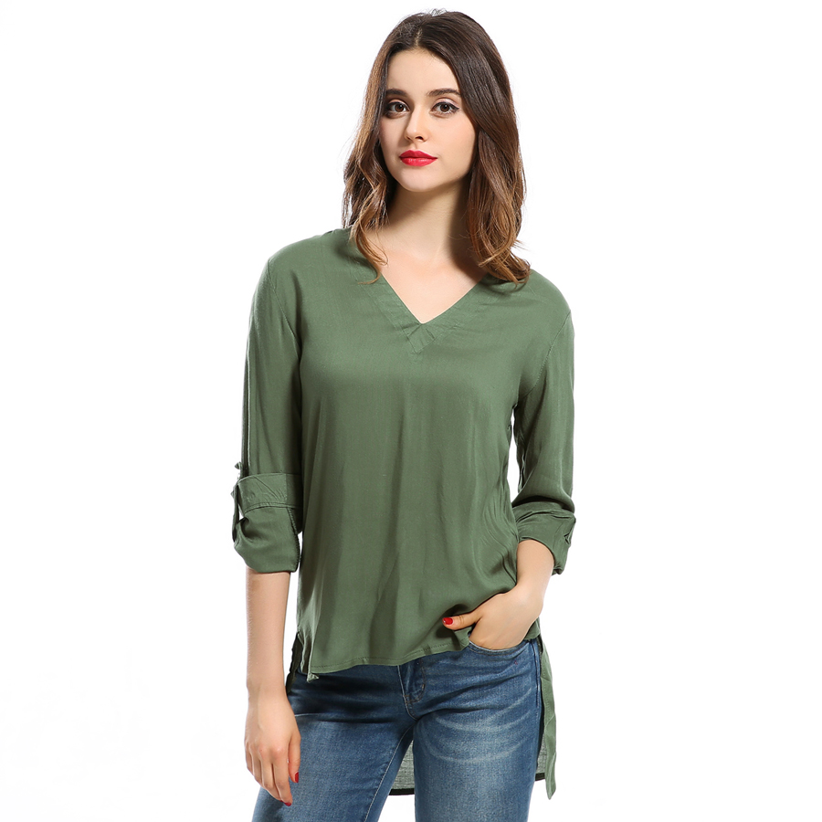 Long sleeve shirts solid v neck cotton vintage for Women s 100 cotton long sleeve tee shirts