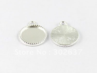 """FREE SHIPPING 50PCS 0.75"""" Silver plated Cabochon Settings Pendant Trays picture frame Round Charms A15019SP"""