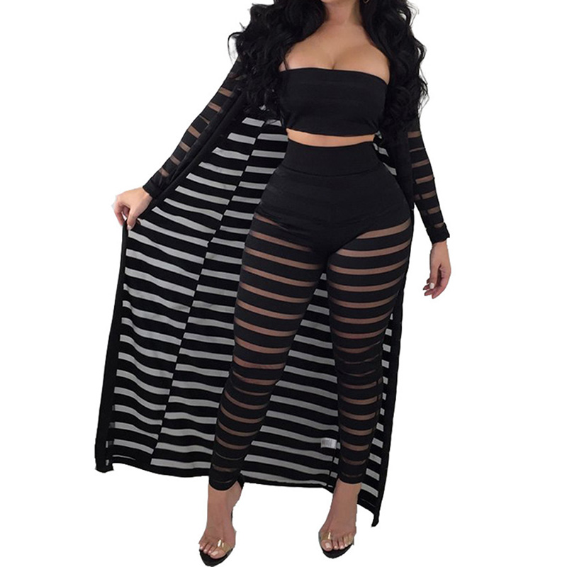 3 Pieces Set  Women Strapless Crop Top Stripe Mesh Pants Long Cardigan Set New Style Plus Size Party Club Outfits