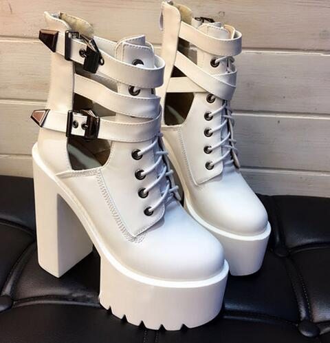 White Black Leather Riding Boots Women Cut out Lace up Strap Buckle Shoes 15 cm High Platform Gladiator Sandal Boots in Ankle Boots from Shoes