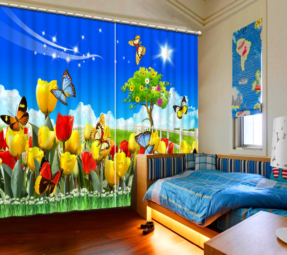Pastoral Style HD 9D Curtain garden flowers butterfly Kids Room ...